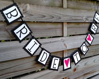 Bride To Be Banner - Bridal Shower Sign and Decoration in Black, Shimmer White, and Hot Pink