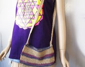 RUSTIC // Vintage 90s Woven Purse Purple and Blue Striped Crossbody Bag Lightweight 1990s Ethnic Festival Cute Hippie Shoulder Carryall