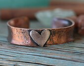 Copper wide extra thick Cuff bracelet with sterling silver Heart personalized bracelet