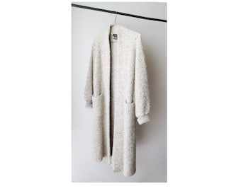SALE - 1980's Open Front Chunky Wool Long Cardigan Coat