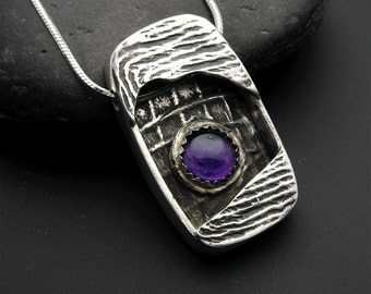 Pendant, silver, with amethyst,Rectangular Sterling and Fine Silver Shadow Box Pendant with Amethyst