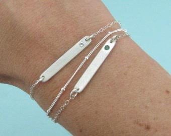Bar Bracelet - Birthstone Jewelry - Mom Jewelry - Birthstone Silver Bracelet - Minimalist Jewelry
