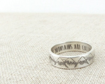 Inspirational Ring - Mountain Ring - Inspirational Jewelry - The Mountains are Calling - Mountain Jewelry - Silver Ring - Wedding Band