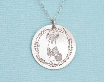 Fox Necklace - Woodland Jewelry - Silver Charm Necklace