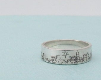 Skyline Ring - Silver Band Ring - City Jewelry