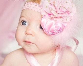 Baby Headbands,Flower Baby Headband,Floral Pink Baby Headband,Baby Girl Headbands,Newborn Headband,Infant Headband,Shabby Flower Headbands