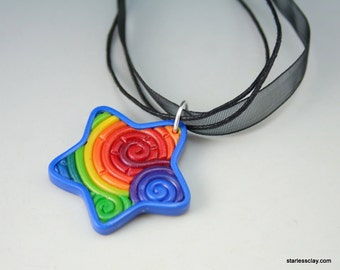 Rainbow Star Pendant in Fimo Filigree Black Friday Cyber Monday