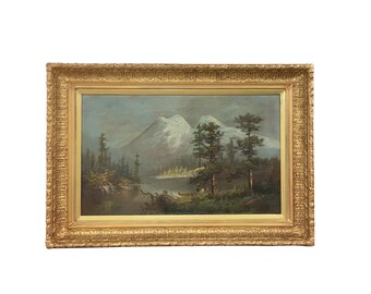 1890s Framed Oil, Landscape Painting, Antique Art, Native American