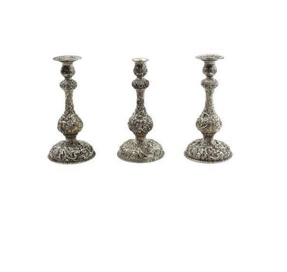 1900s Sterling Repousse Candle Stick Set by S Kirk & Son of Baltimore