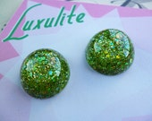 Sparkly Green domed earrings to Match Audrey II brooch -  confetti lucite vintage inspired earrings handmade by Luxulite