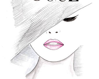 Print Watercolor Pink Lips 1950's Vogue Poster, Fashion Illustration Vogue Face Cover Hand Drawn, Black and White Fashion Poster by Zoia