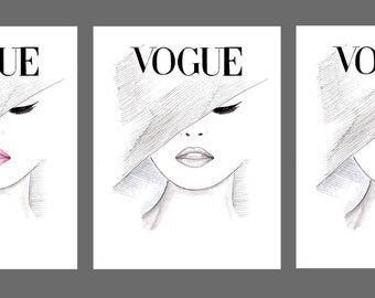 Fashion Illustration 1950's Vogue Poster Set, Trio Vogue Face Cover Prints,Watercolor Hand Drawn Black and White Vogue, Girls Room Décor