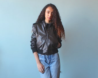 leather bomber jacket / lined black leather jacket / 1980s / small