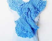 Cornflower Blue Lacy Scarf - Boa / Scalloped Ruffles / Romantic Victorian Feminine Crochet Fashion / Periwinkle Blue / OOAK Gift Under 100