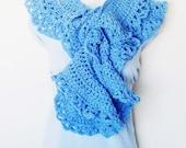 Cornflower Blue Lacy Scarf - Boa / Scalloped Ruffles / Romantic Victorian Feminine Crochet Fashion / Periwinkle Blue / OOAK Gift Under 100