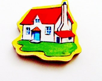 1960s Cottage House Brooch - Pin / Red, White, Blue, Green & Yellow Accessory / Upcycled Hand Cut Wood Puzzle Piece / Unique Gift Under 25