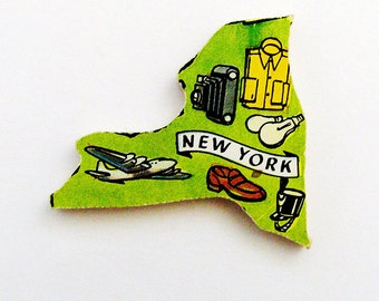 1960s New York Brooch - Pin / Unique Wearable History Gift Idea / Upcycled Vintage Hand Cut Wood Jewelry / Timeless Gift Under 25