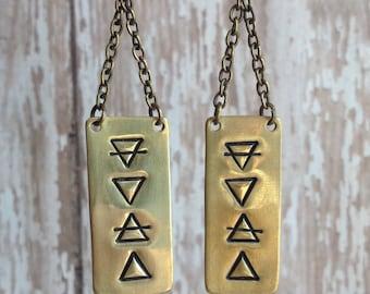 Brass Four Elements Alchemy Symbol Earrings