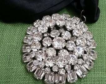 "gorgeous 2 3/4"" rhinestone pendant on silk ribbon"