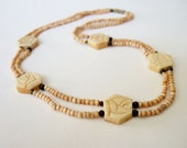 Carved Rose Necklace - Natural Stone Colour Beads - Vintage 1980s