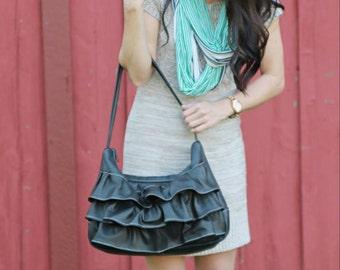 Leather Hobo Bag - Black - Hobo bag - Genuine Leather