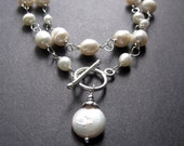 SALE - Enter SAVE10 - Long Pearl Necklace, Pearl Statement Necklace, Bridal Jewelry, June Birthstone