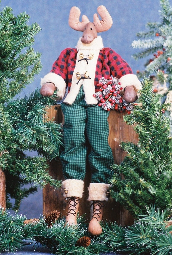 Mailed Cloth Doll Pattern 23in Holiday Boy Moose