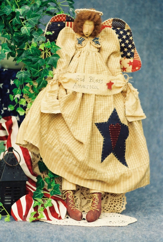 Mailed Cloth Doll Pattern  24in Patriotic Folkart Angel