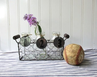 Chicken wire basket with 3 bottle vases and black numbered metal tags Farmhouse Industrial Cottage