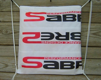 Sabre2 Parachute Logo Drawstring Backpack : White Lining, Interior Pocket, Key Loop