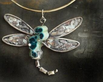 Dragonfly Necklace, Raw Specimen Jewelry, Blue Chrysocolla Pendant
