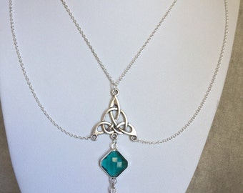 Emerald Crystal Necklace, Layered, Celtic Knot Necklace, Glamorous, steampunk jewelry