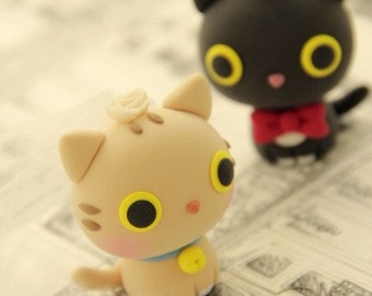 kitty and cat bride and groom wedding cake topper---k805