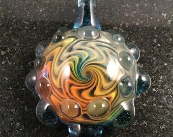 Glass Rainbow Wigwag Implosion Pendant Bead --- Majestic Glass Arts ---