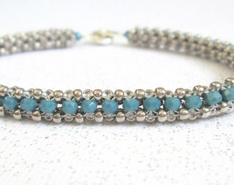 teal beaded jewelry silver bead bracelet seed bead cuff
