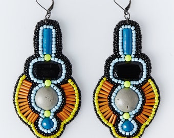Bead embroidered handmade earrings - Facets collection -