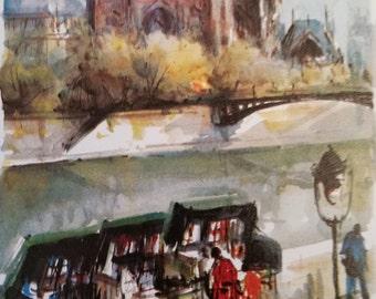 Vintage Lucien Delarue Print 547 Paris - La Seine Et Les Bouquinistes Unframed Print