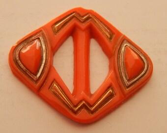 Outstanding Orange Deco Glass Buckle - Original - Flapper Era - 1920's