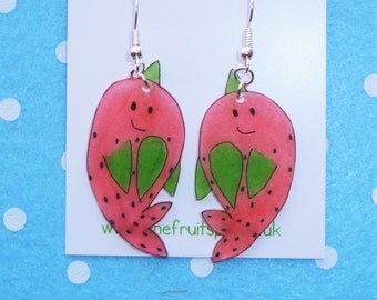 Adorable Magical Watermelon Narwhal Earrings in Pink and Green