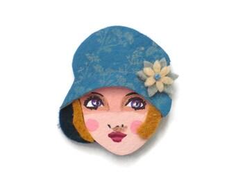 Twenties Glamour Girl Fabric Brooch, Felt Brooch, Art Brooch, Wearable Art Jewelry