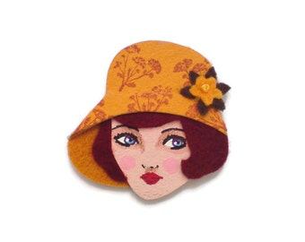 20s Flapper Girl Fabric Brooch, Felt Brooch, Art Brooch, Wearable Art Jewelry