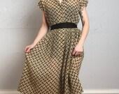 ON SALE Crepe Dress in Tread Print