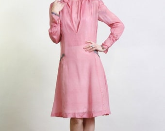 ON SALE 1920s Pink Silk FLAPPER Dress