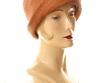 ON SALE 1920s Straw Cloche with .  20s Flapper