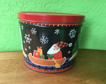 Vintage Bertels Can Co. Tin Made in Wilkes Barre PA USA Christmas Santa in Canoe