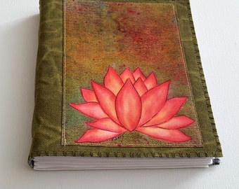 Pink Lotus mid-size journal - waxed green canvas vegan journal