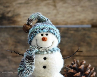 Snowman - handmade - needle felted- one of a kind -  743