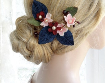 navy blue hair clip, navy and blush wedding headpiece, marsala wedding hair flower, navy hair flower, bridal hair piece, hair accessories