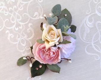 bridal hair piece, bridal hair clip, pink flower hairpiece, wedding headpiece, blush wedding hair comb, bridal hair flower, floral hairpiece