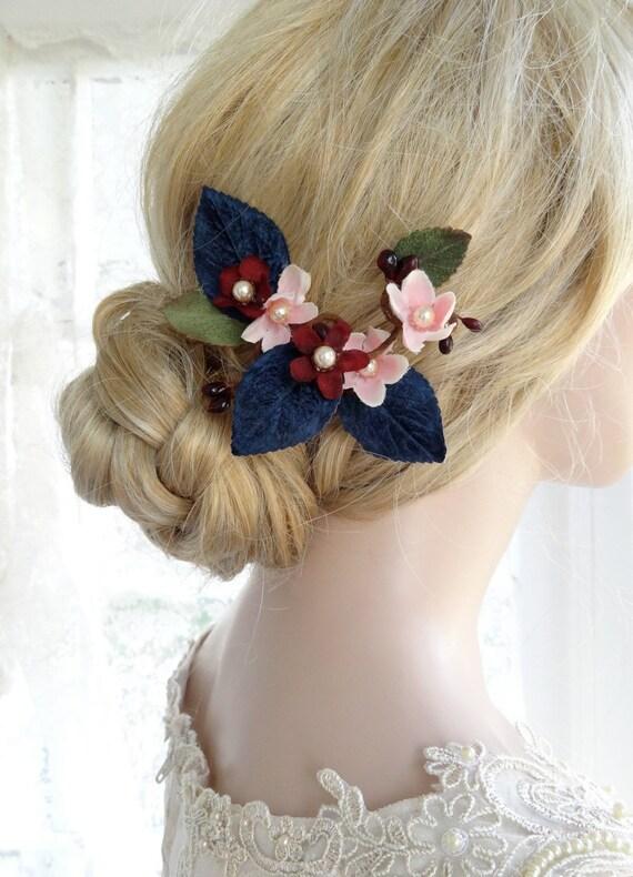 navy blue hair clip, navy and blush wedding headpiece, marsala wedding hair flower, navy hair flower, bridal hair piece, hair accessories